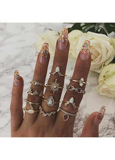 Mother's Day Gifts Gold Metal Rhinestone Embellished Various Shape Ring Set - One Size