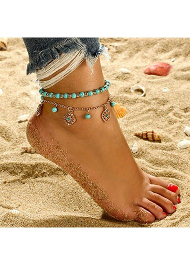 Beads_Detail_Gold_Metal_Anklet_Set_for_Lady__One_Size