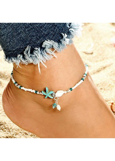 White_Bead_Embellished_Star_Design_Anklet__One_Size