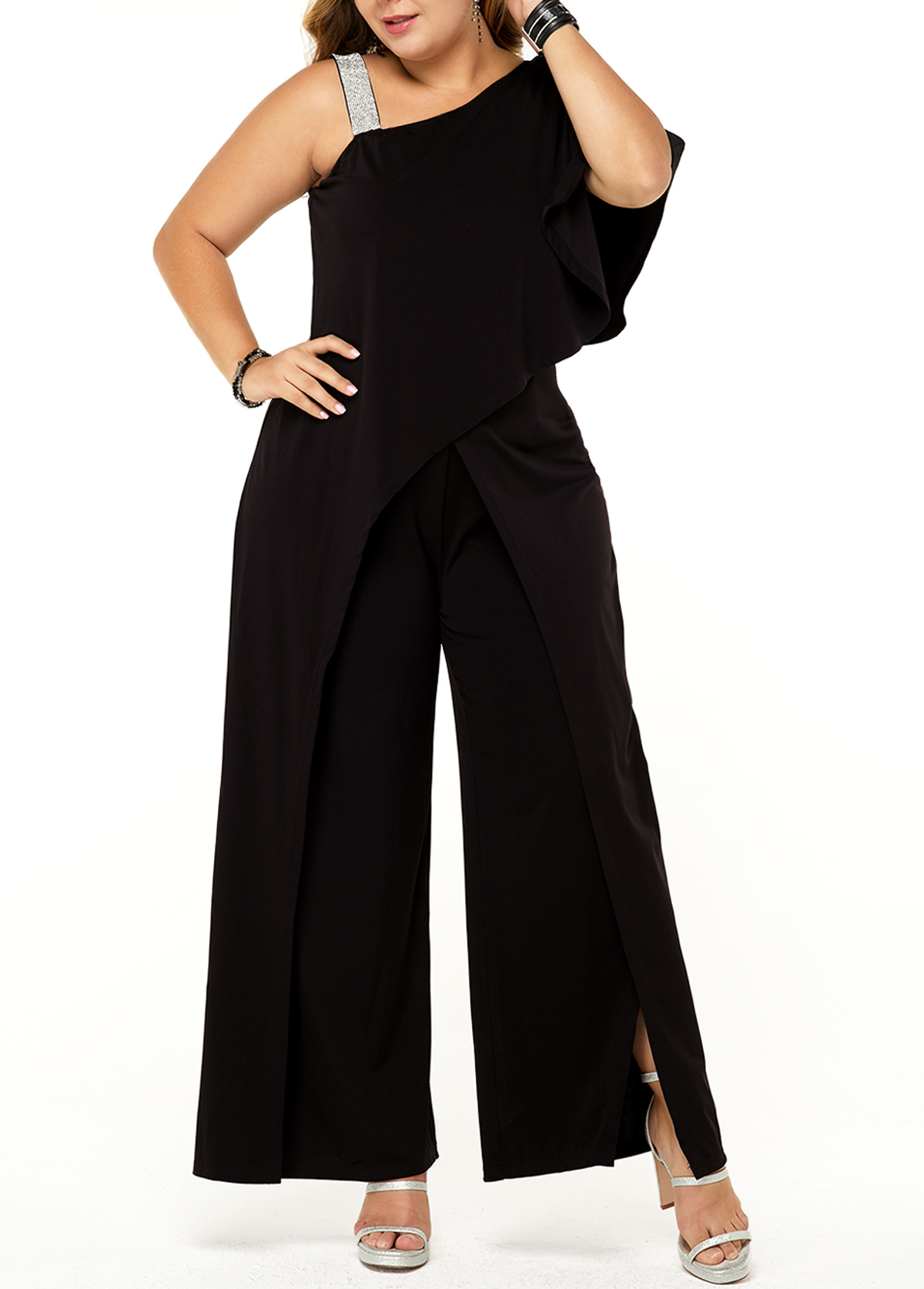 Back Zipper One Sleeve Plus Size Overlay Jumpsuit