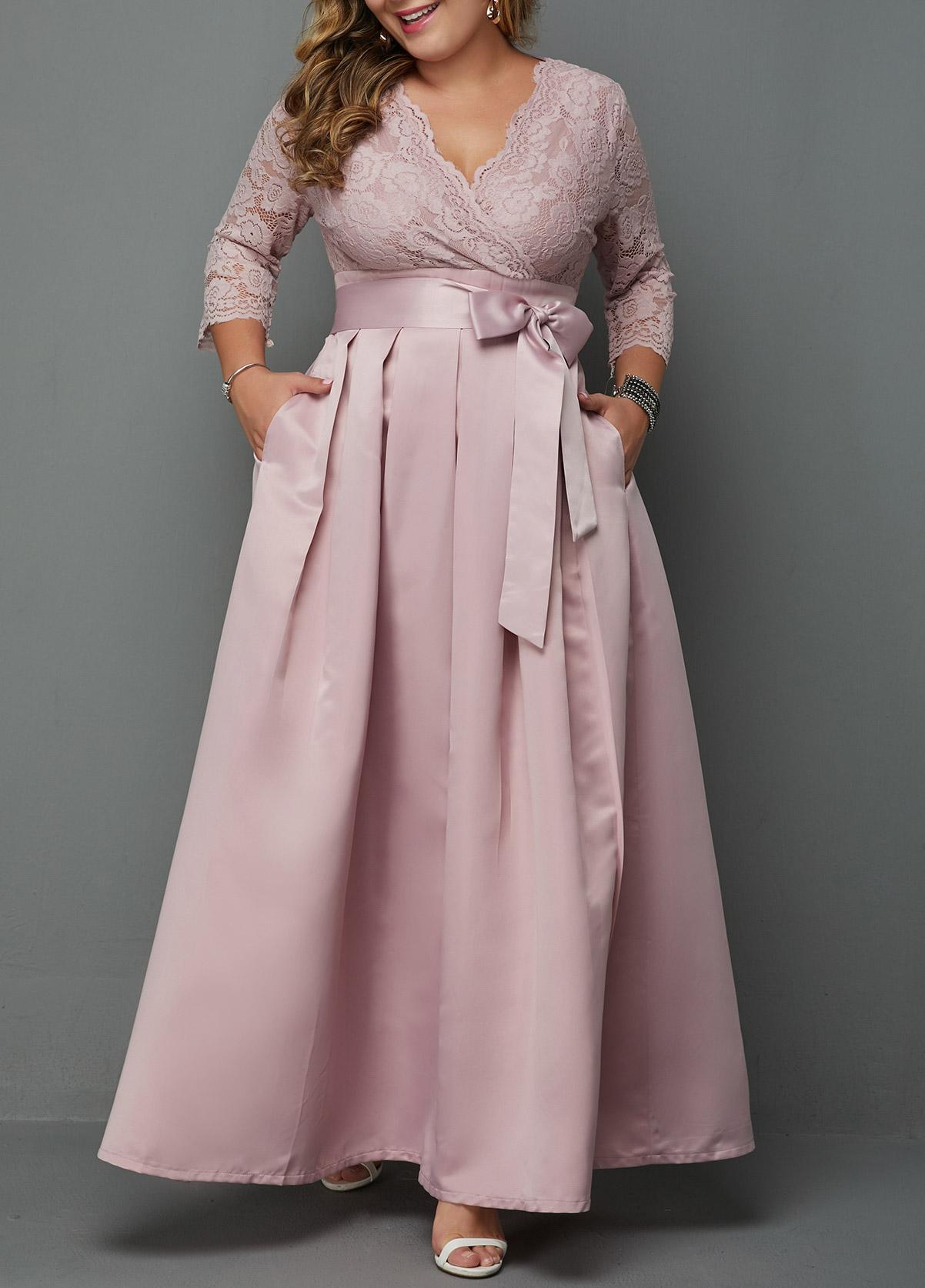 Plus Size V Neck Lace Patchwork Dress