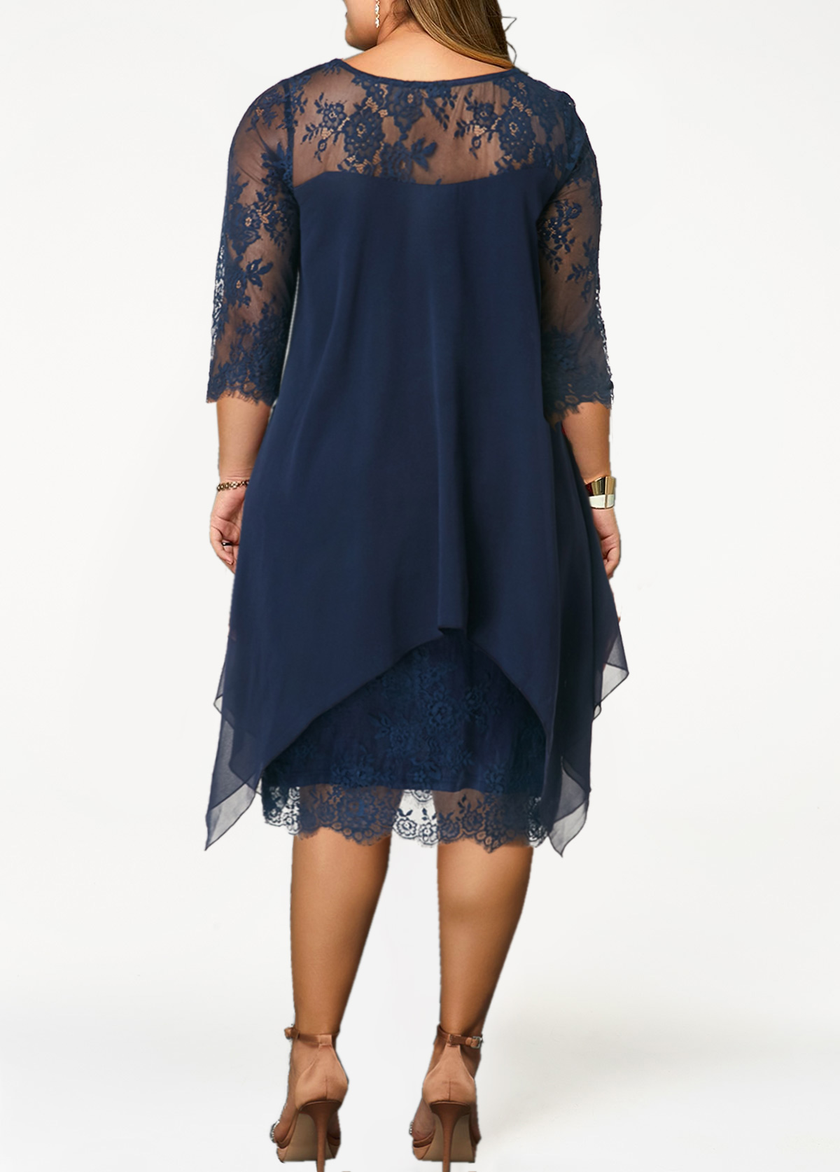Plus Size Lace Patchwork Overlay Navy Blue Dress