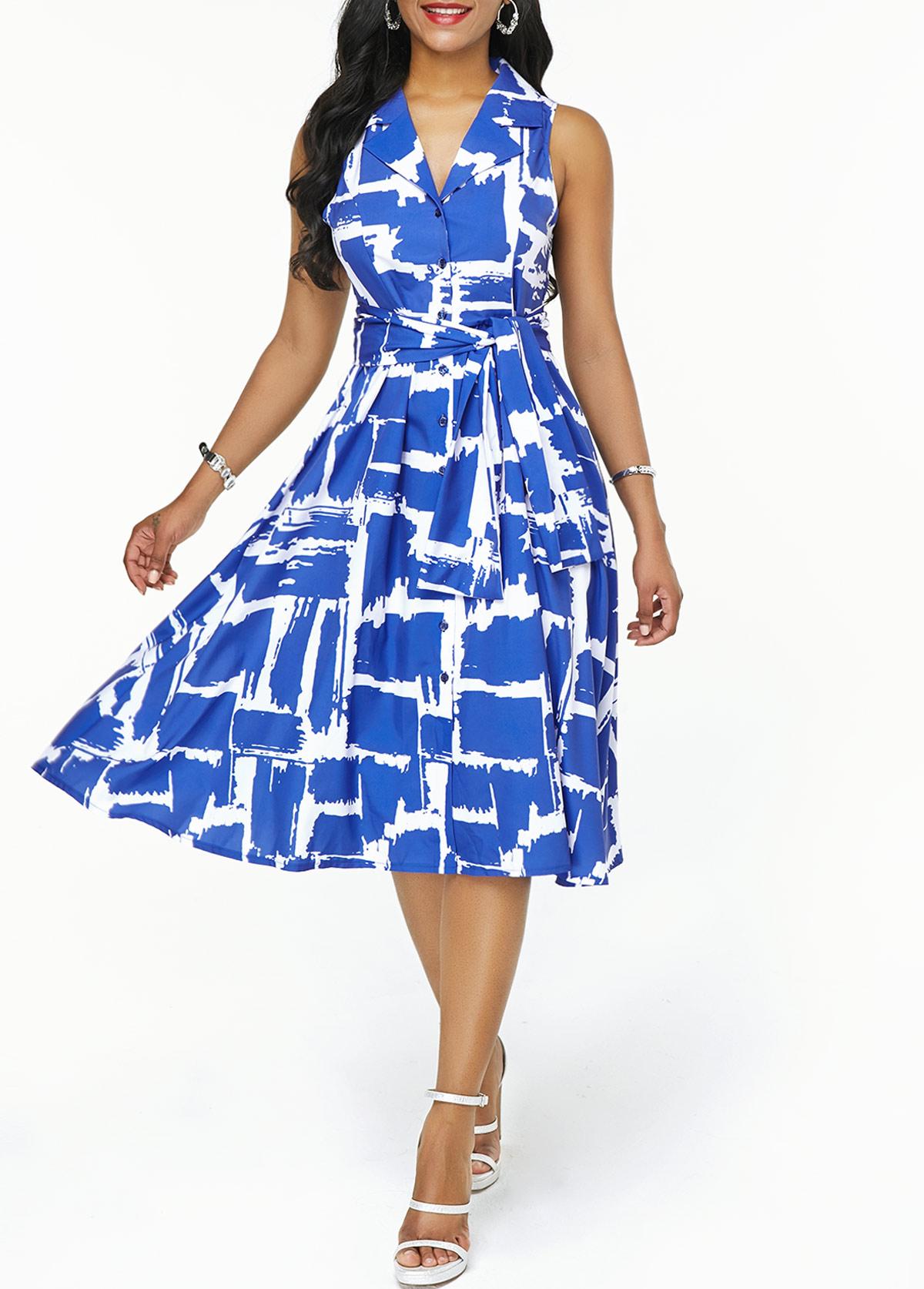 Printed Notch Collar Belted High Waist Dress