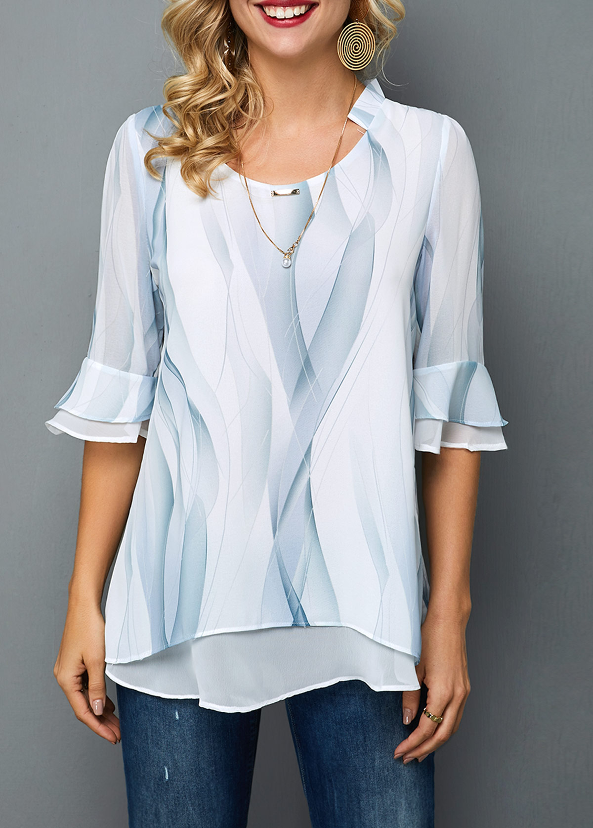 Round Neck Layered Hem Printed Chiffon Blouse