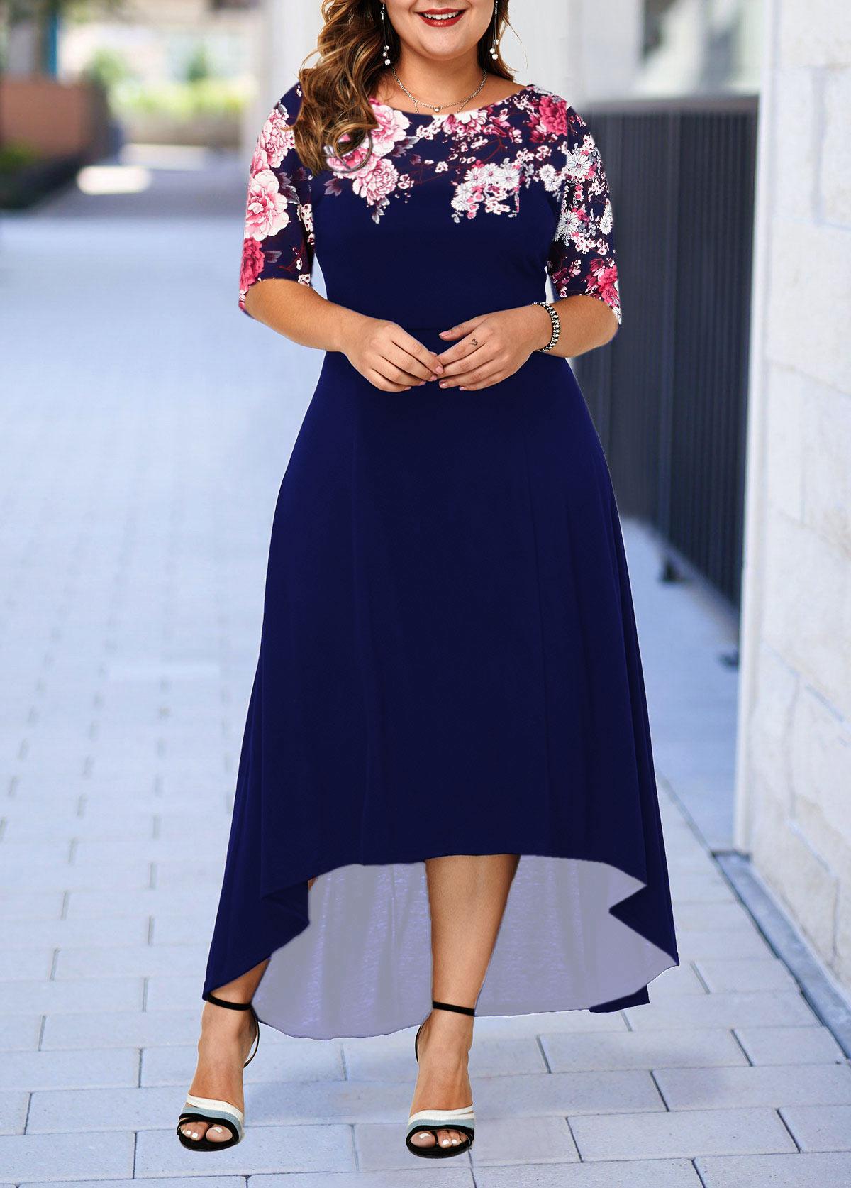 Plus Size Flower Print Dip Hem Dress