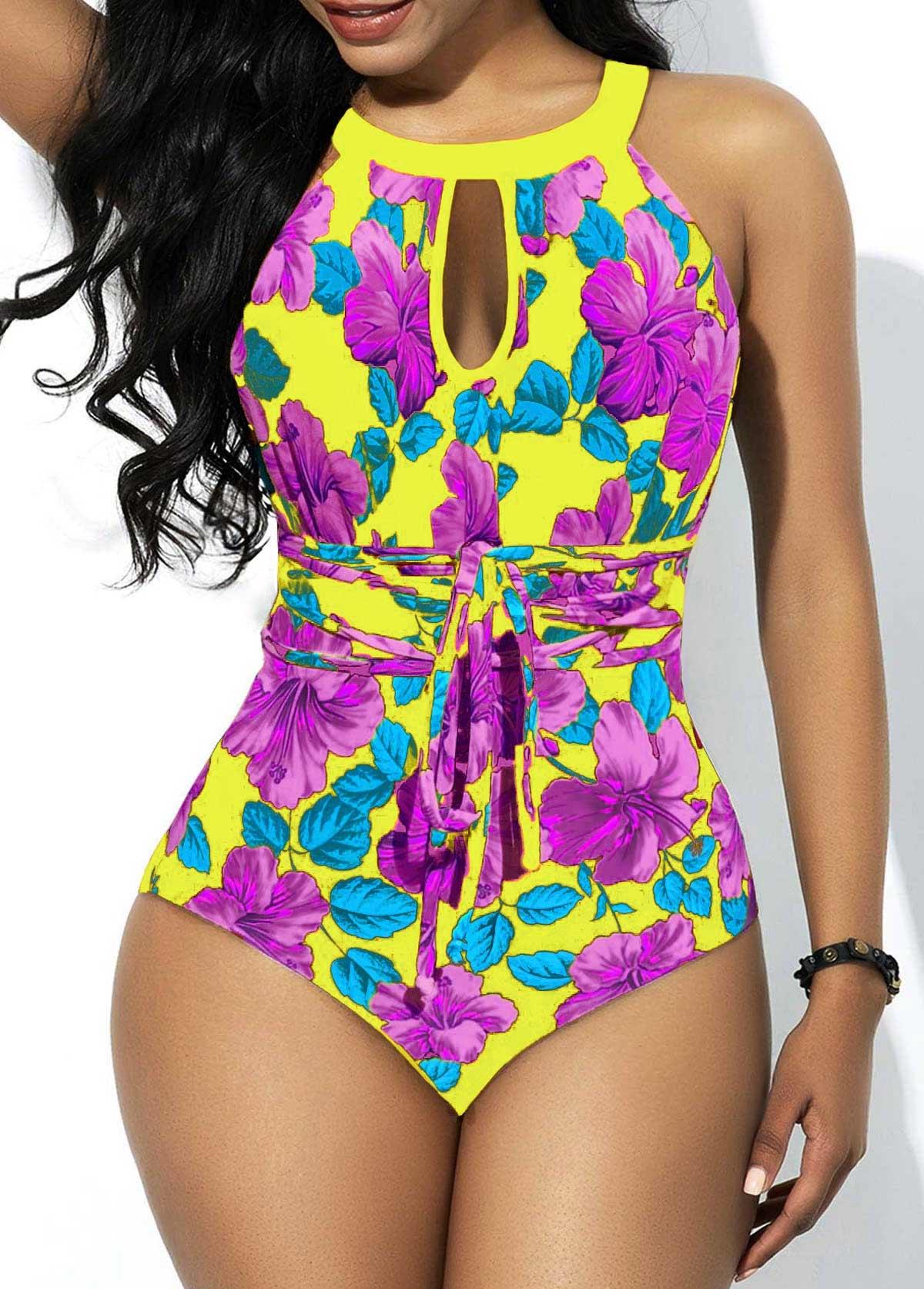 Floral Print Tie Back One Piece Swimwear