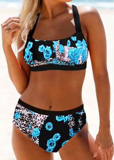Tie Back Spaghetti Strap Leopard Print Bikini Set