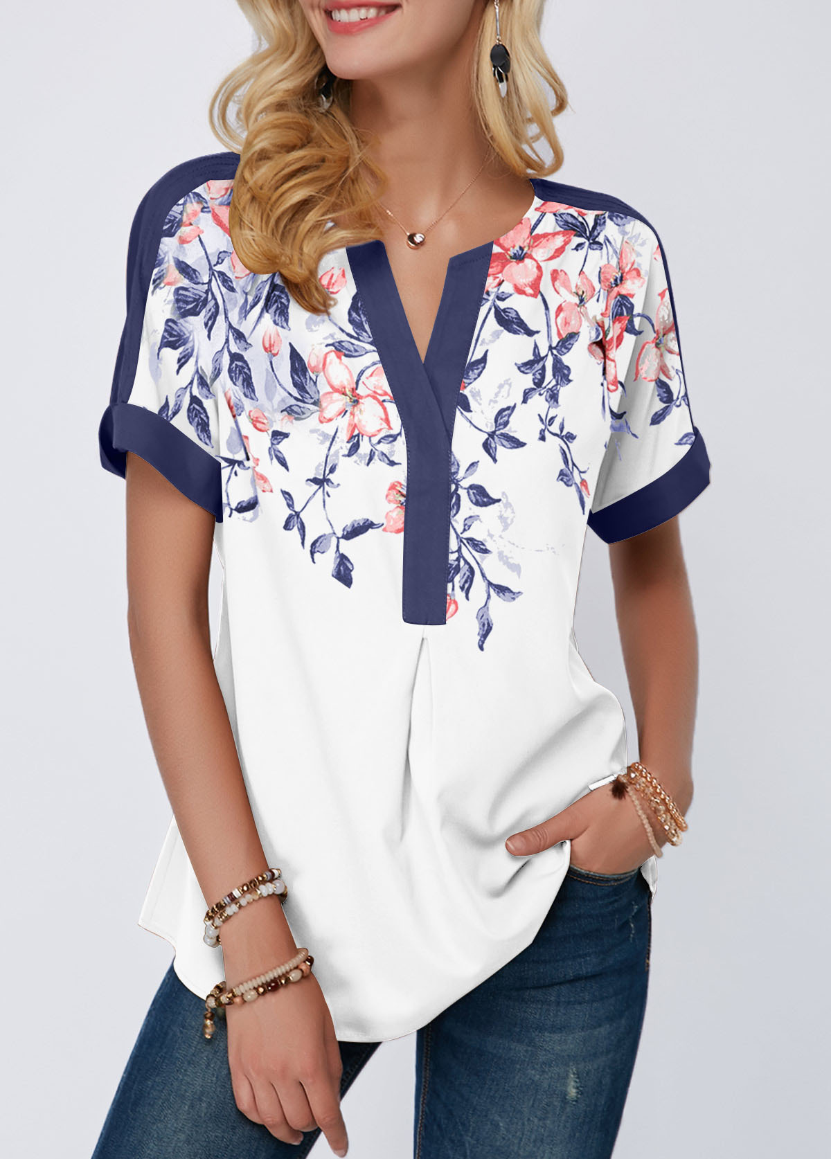 Floral Print Split Neck Contrast Piping Blouse