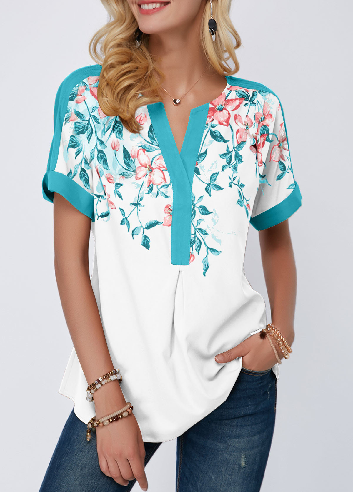 Contrast Piping Notch Neck Floral Print Blouse