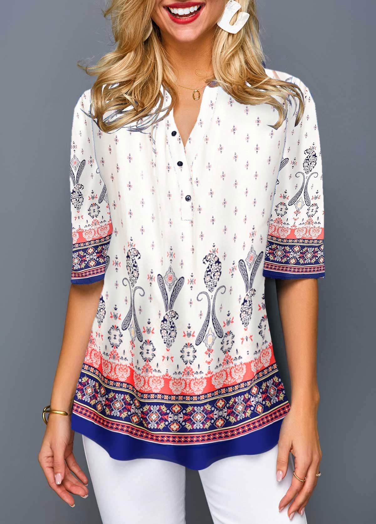 Half Sleeve Split Neck Tribal Print Blouse