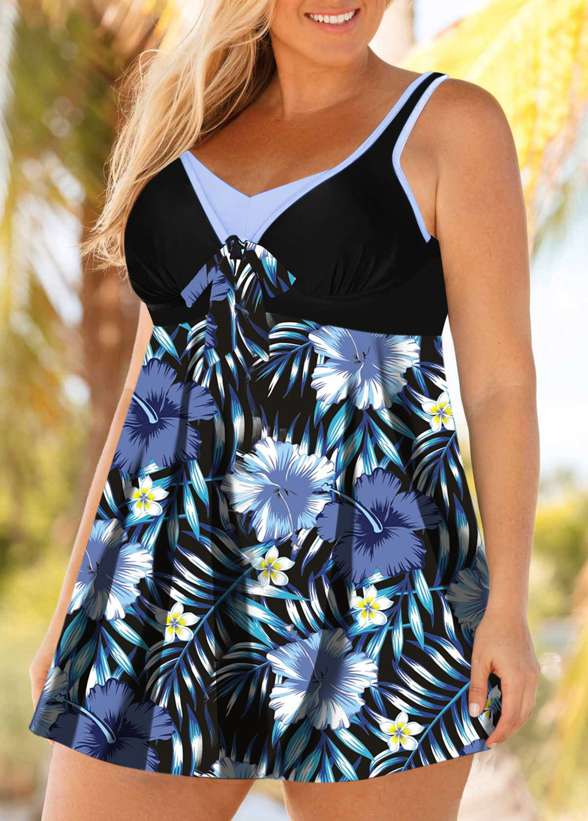Hollow Back Flower Print Plus Size Swimdress and Shorts