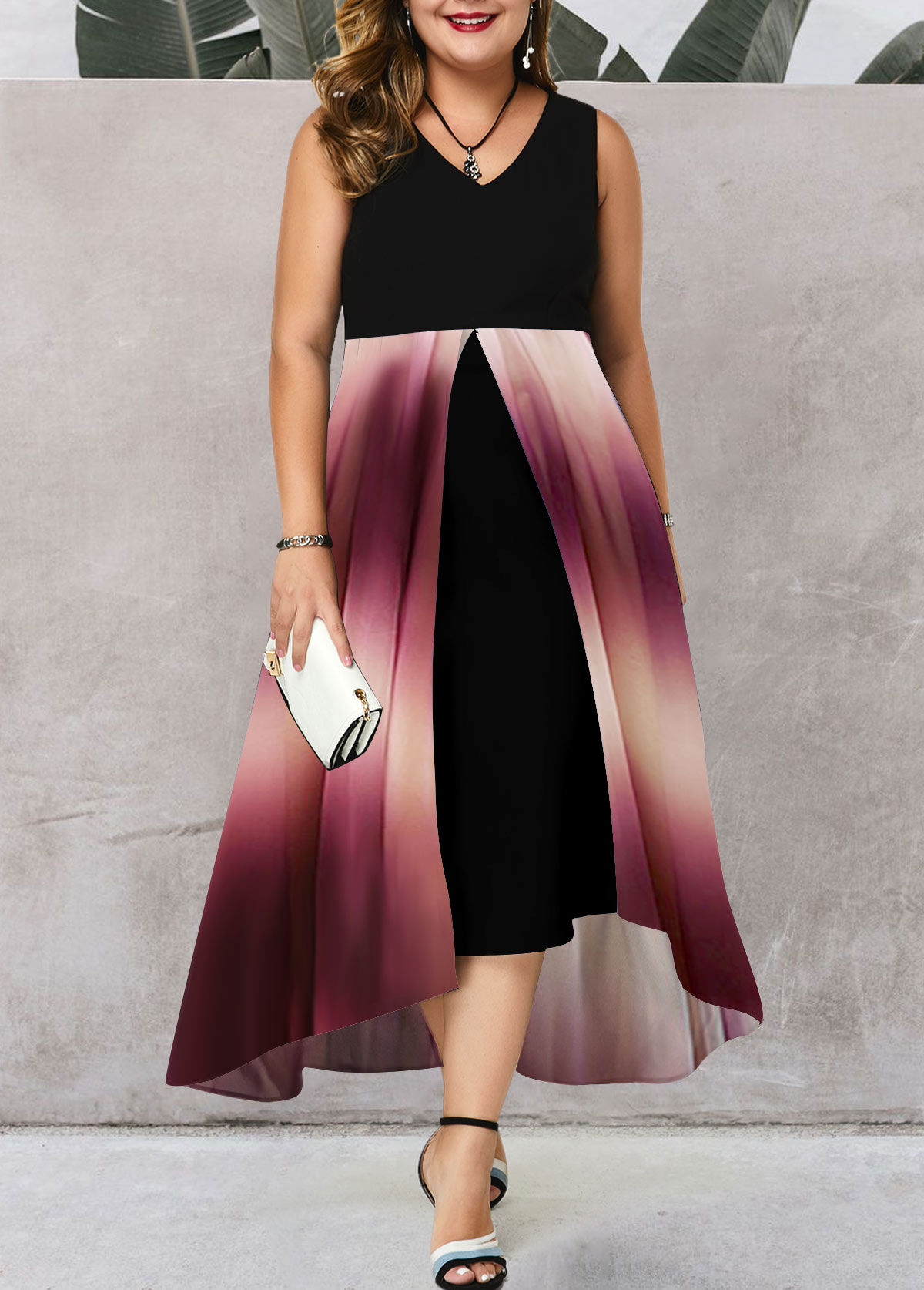 Sleeveless V Neck Plus Size Gradient Dress