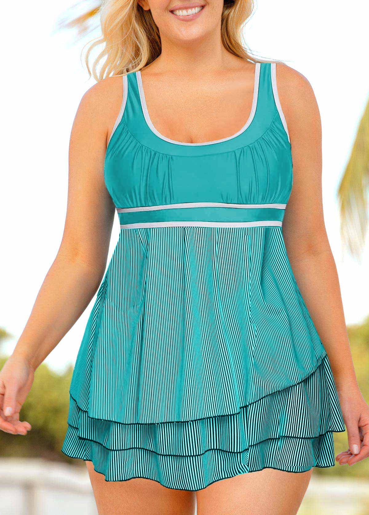 Plus Size Layered Hem Sleeveless Contrast Piping Swimdress and Shorts