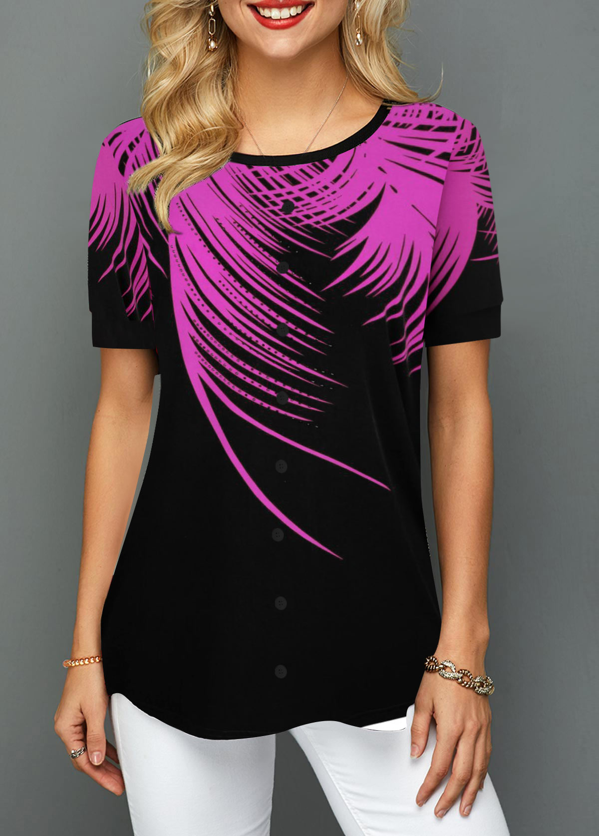 Short Sleeve Purple Palm Leaf Print T Shirt