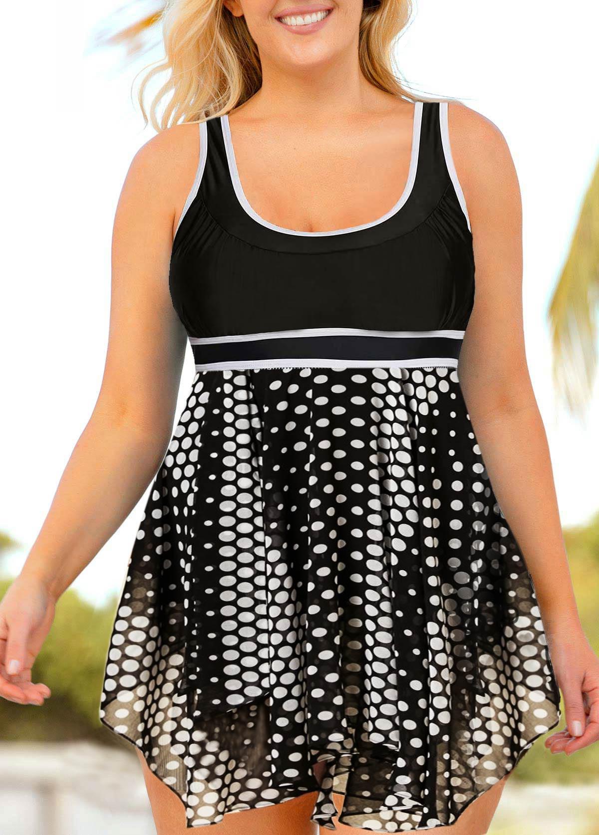 Plus Size Dot Print Swimdress and Shorts