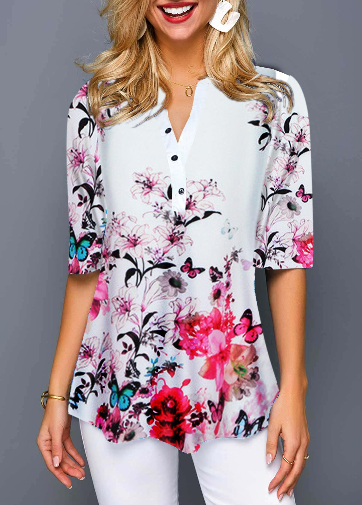 Flower Print Button Detail Notch Neck Blouse