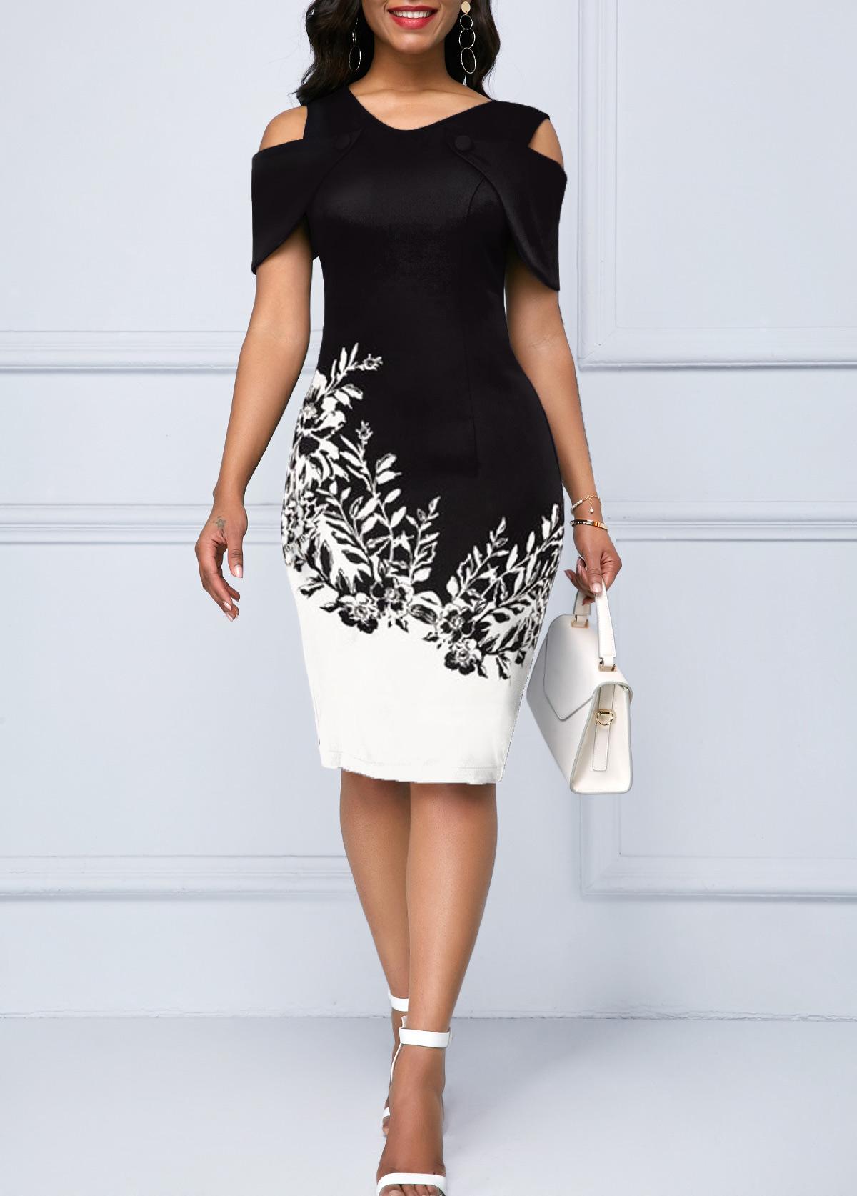 Printed Cold Shoulder Short Sleeve Dress