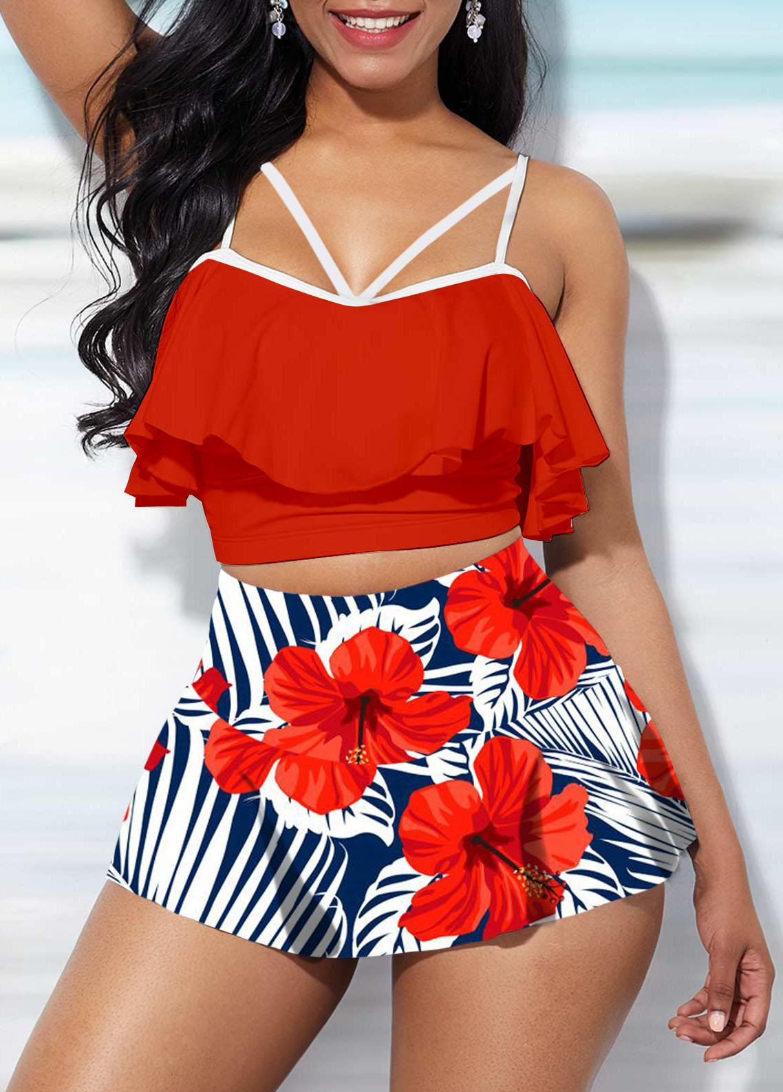 Ruffle Overlay Floral Print High Waist Bikini Set