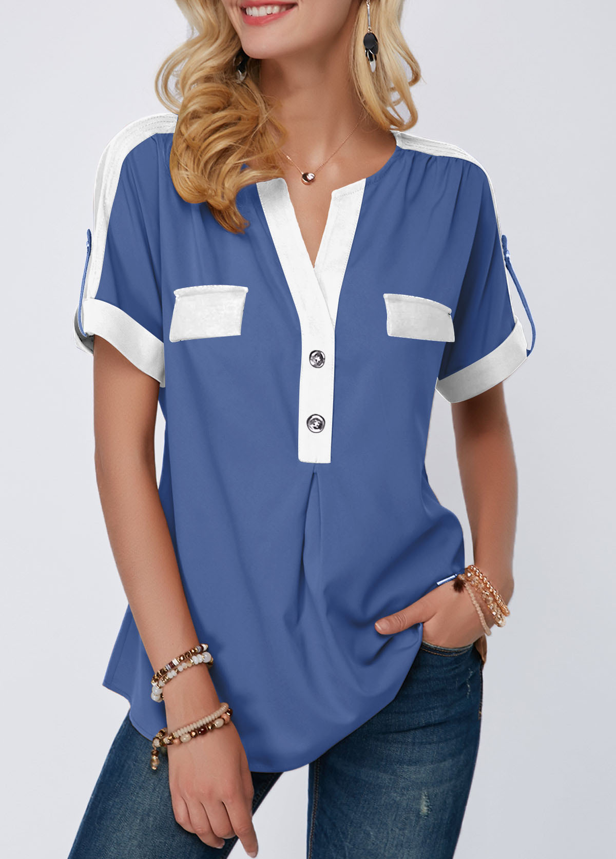 cad403db3c239e Split Neck Roll Tab Sleeve Button Detail Blouse   Rosewe.com - USD ...