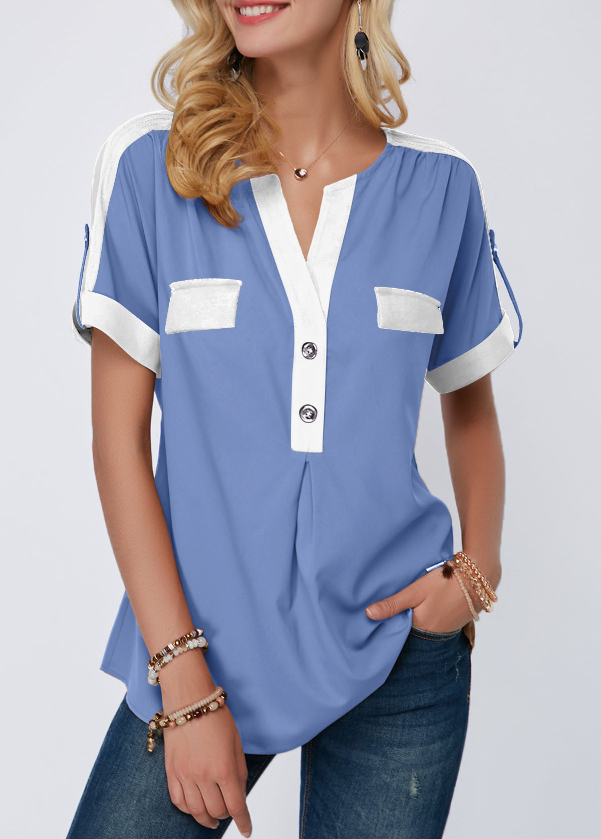 Split Neck Roll Tab Sleeve Button Detail Blouse