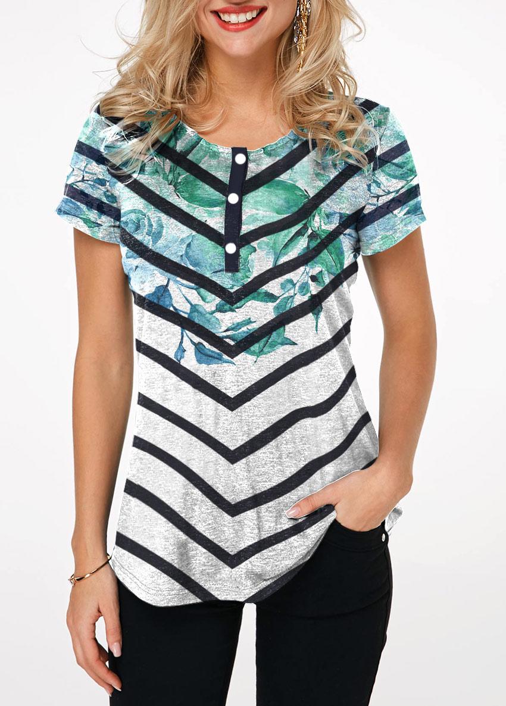 Short Sleeve Chevron Print T Shirt