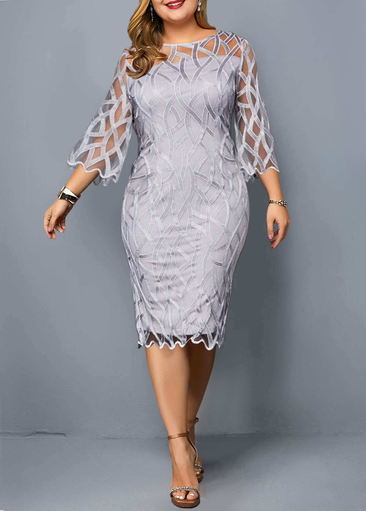 Plus Size Round Neck Light Grey Sheath Dress