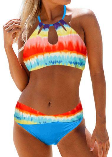 Printed Keyhole Neck Mid Waist Bikini Set