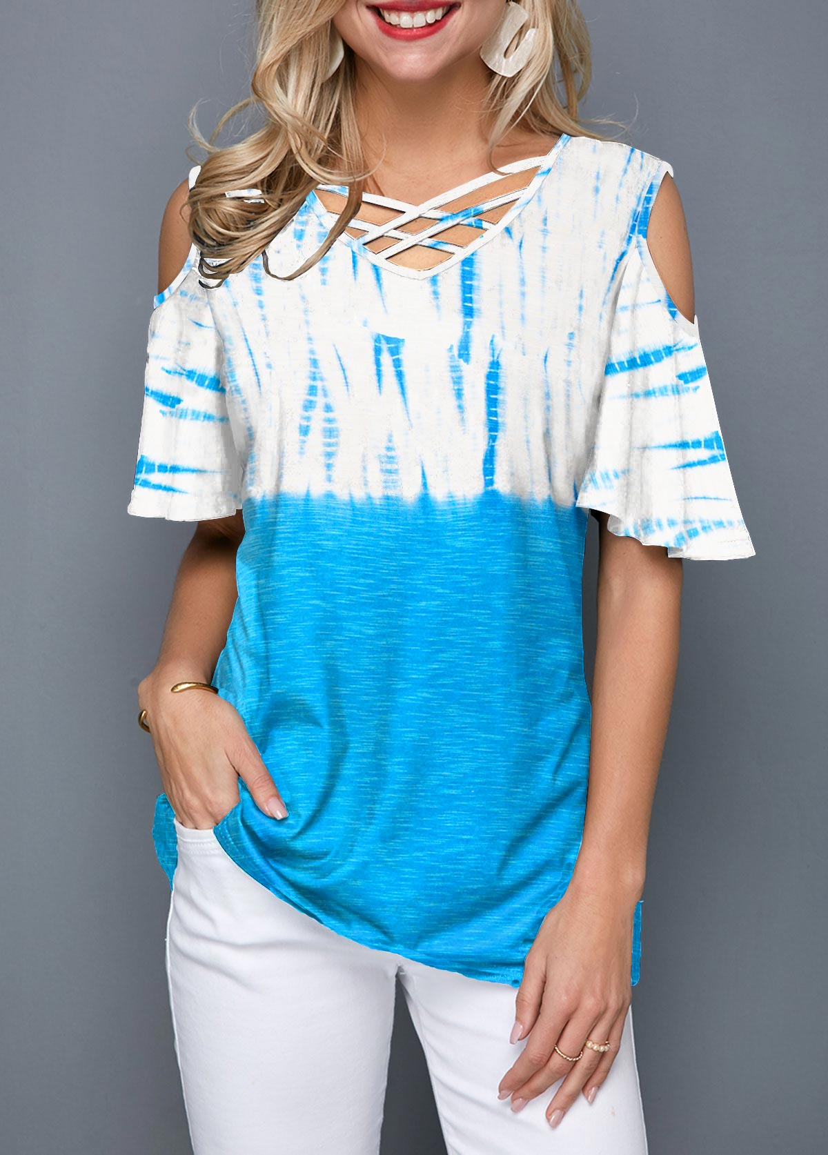 Lattice Front Cold Shoulder Tie Dye T Shirt