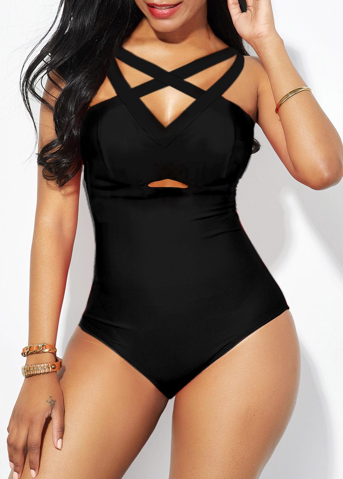 Strappy Back Lattice Front Black One Piece Swimwear