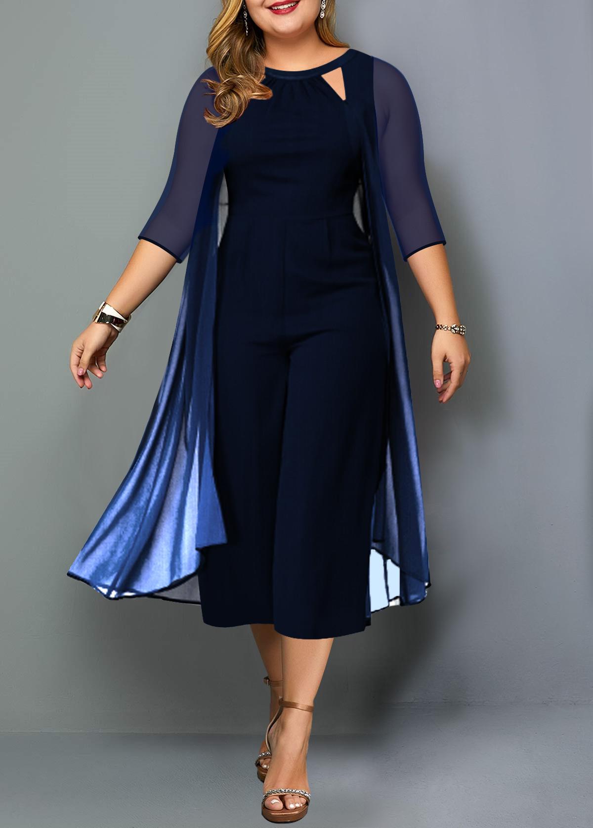 Gradient Chiffon Overlay Plus Size Jumpsuit