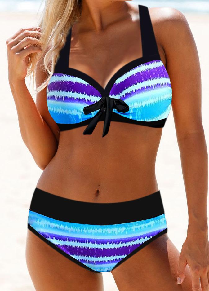 Stripe Print Bowknot Detail Halter Neck Bikini Set
