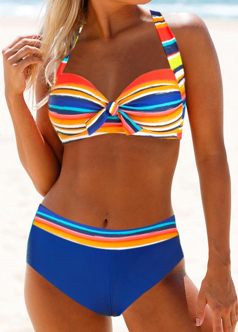 Halter Neck Knot Detail Multicolor Striped Bikini Set