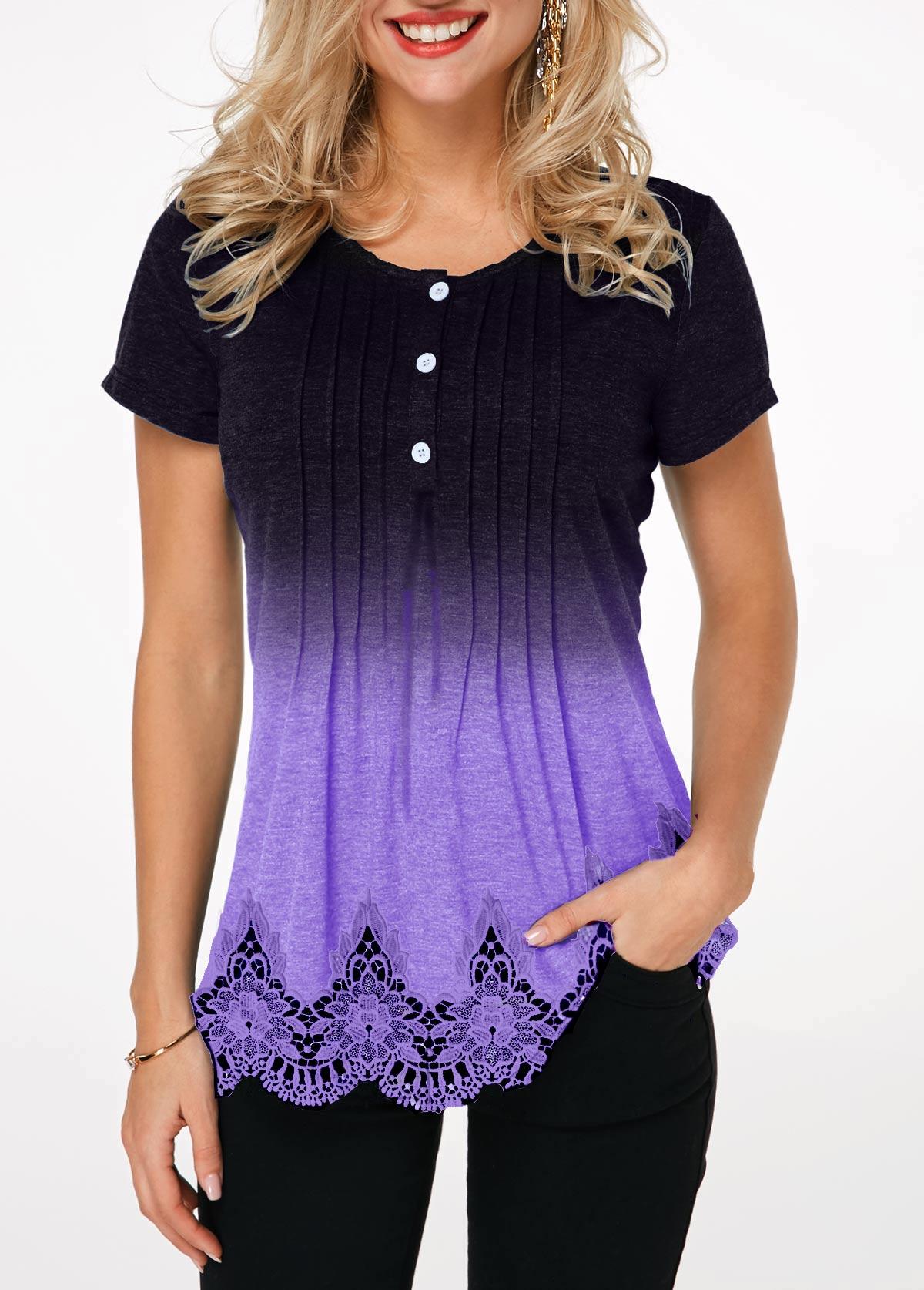 Half Button Lace Panel Scalloped Hem T Shirt
