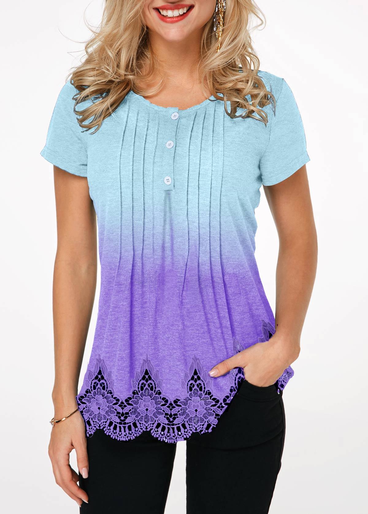 Scalloped Hem Crinkle Chest Lace Panel T Shirt