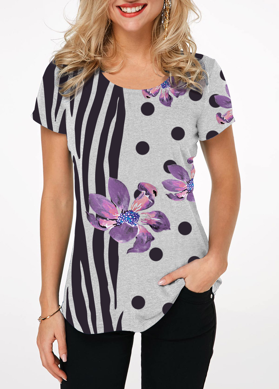Round Neck Zebra and Flower Print T Shirt