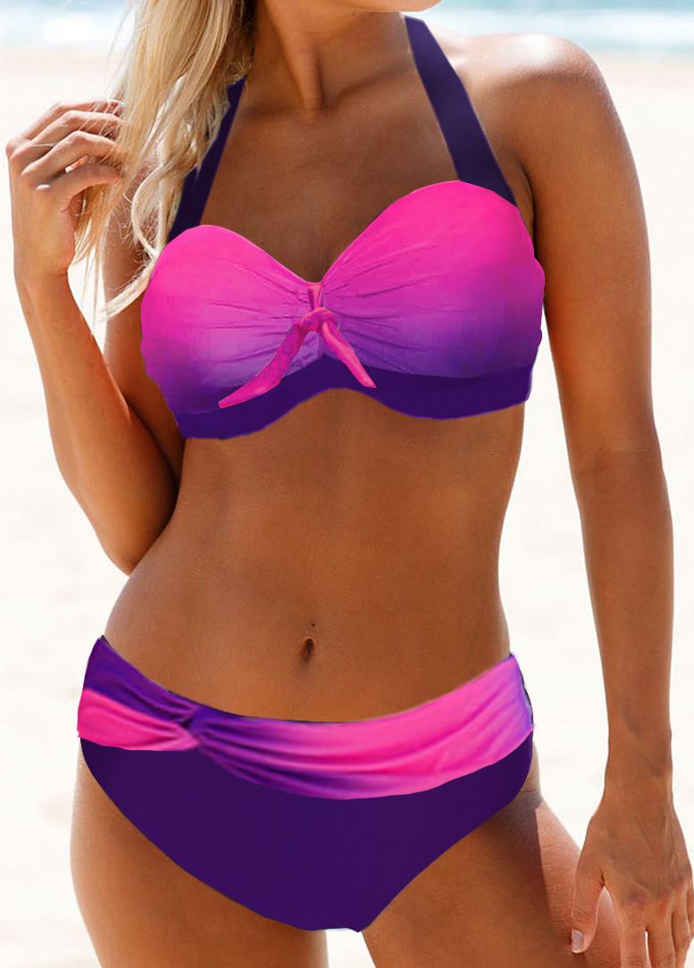 Halter Neck Cutout Back Gradient Bikini Set