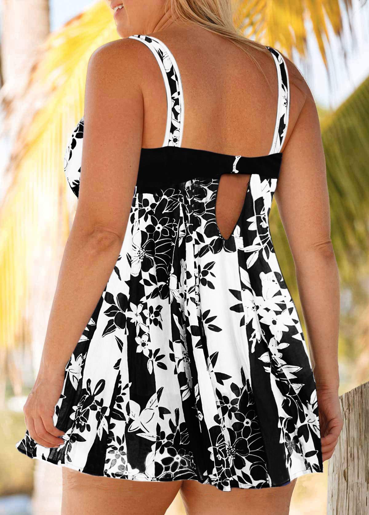 Floral Print Keyhole Back Plus Size Swimdress and Shorts