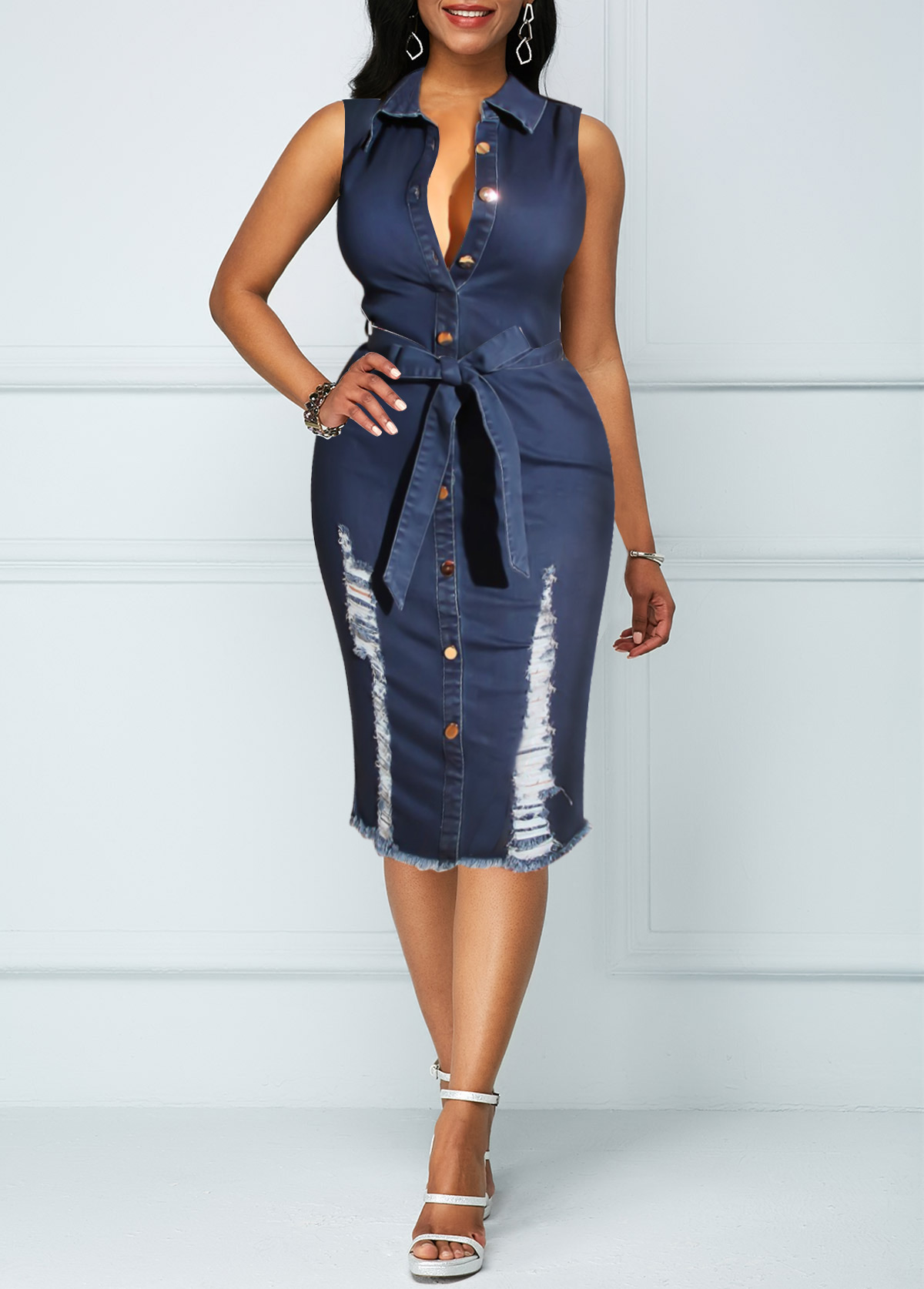 Sleeveless Button Up Belted Denim Dress
