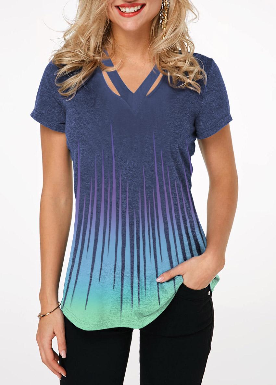 Short Sleeve Cutout Neckline Dazzle Color T Shirt