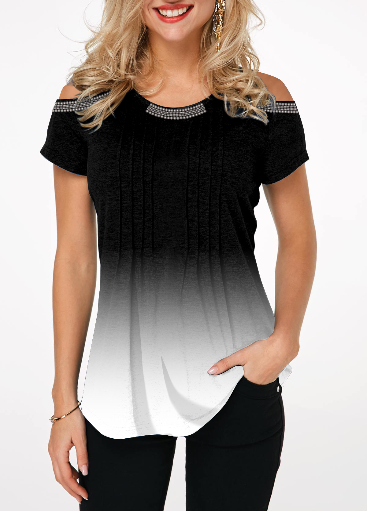 Short Sleeve Crinkle Chest Cold Shoulder T Shirt
