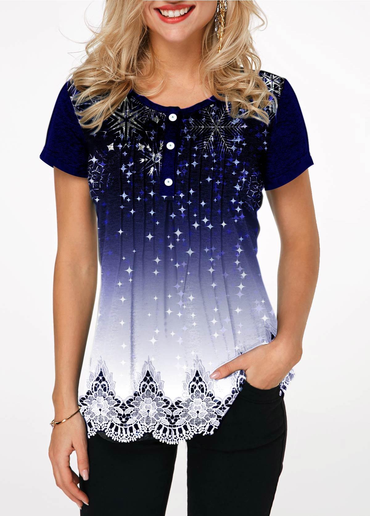 Scalloped Hem Starry Night Print T Shirt