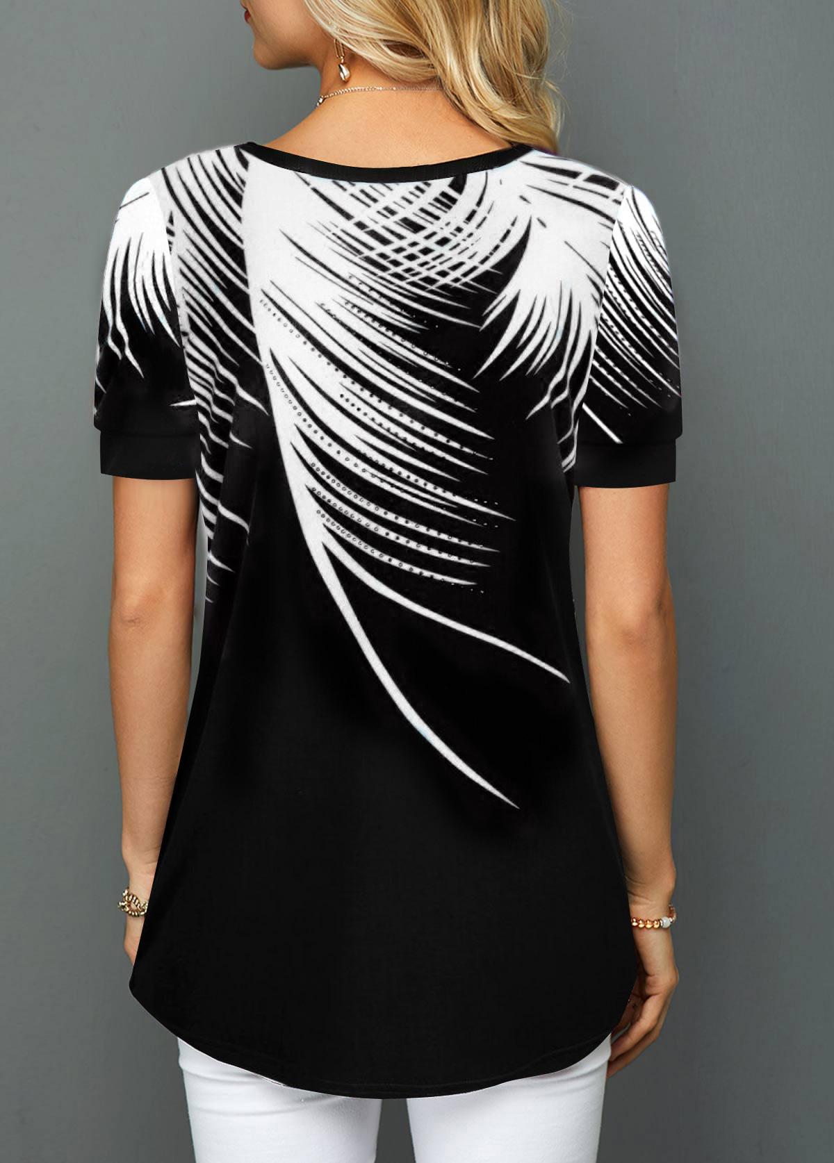 Short Sleeve White Palm Leaf Print T Shirt