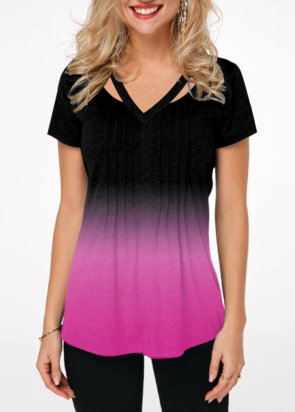 Embellished Neck Short Sleeve Gradient T Shirt