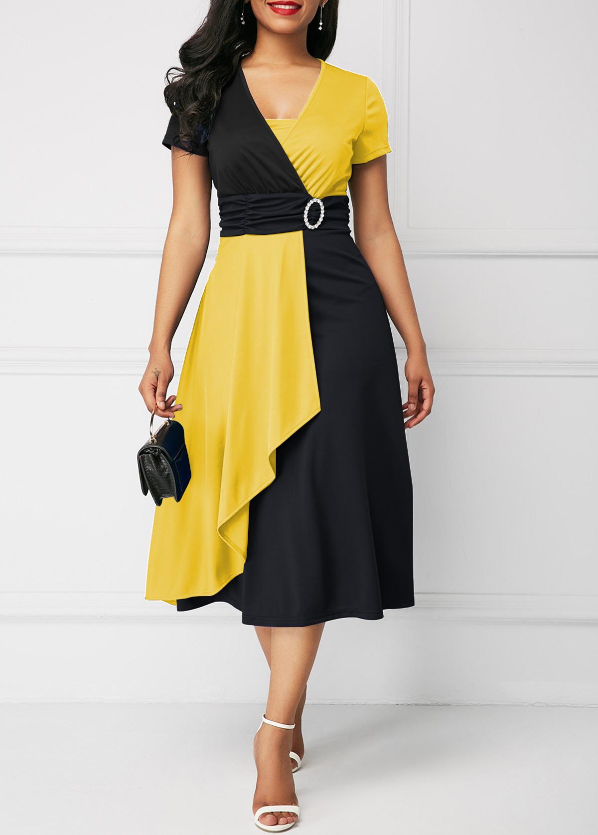 Short Sleeve Mock Wrap Color Block Dress