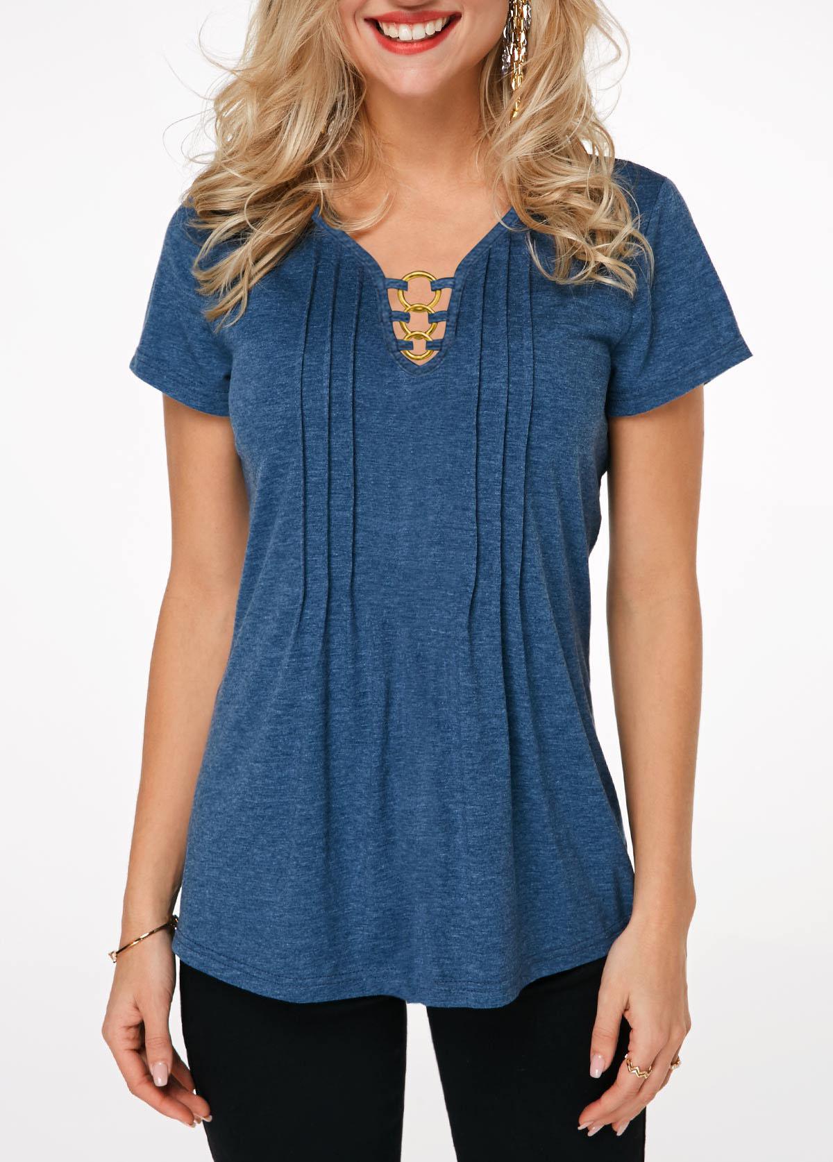 Crinkle Chest Short Sleeve Ring Detail T Shirt