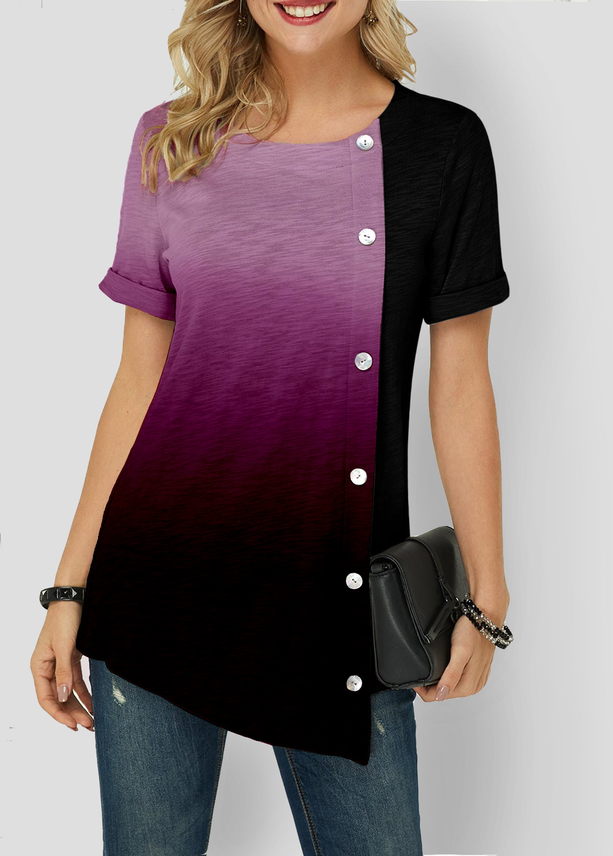 Gradient Asymmetric Hem Button Detail T Shirt