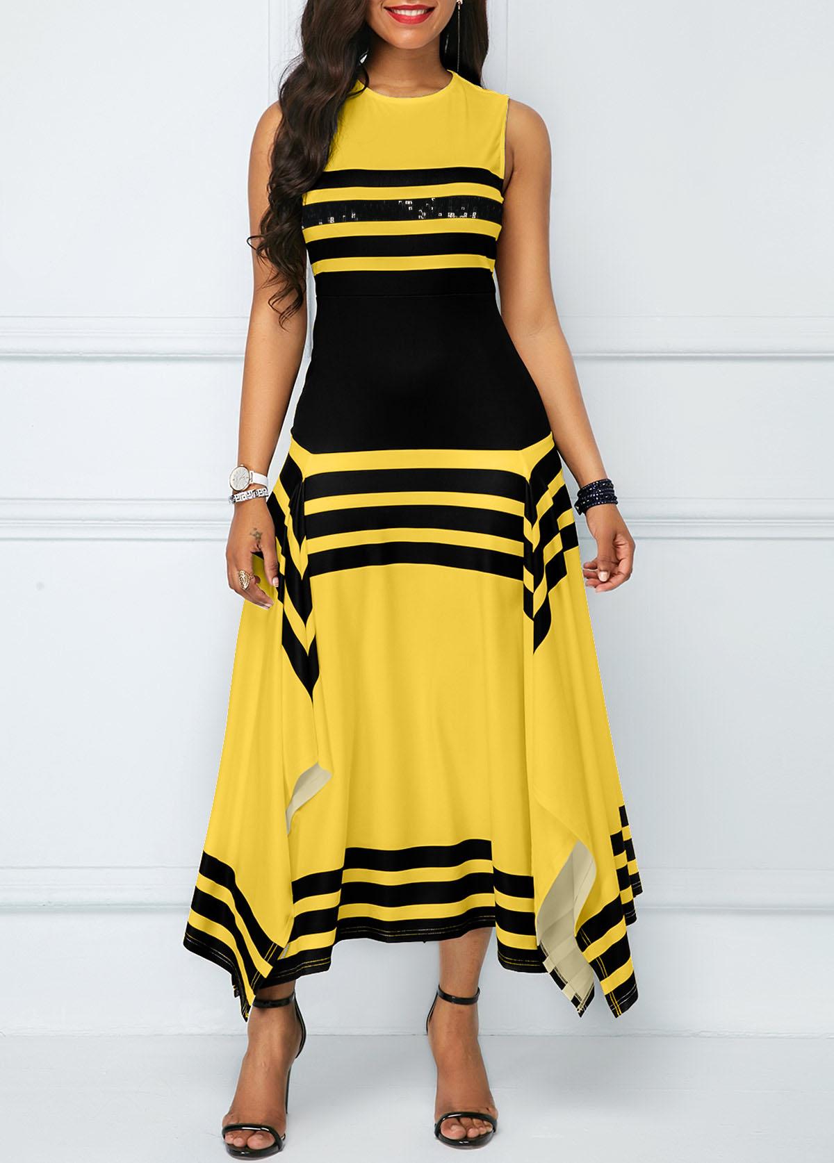 Striped Round Neck Asymmetric Hem Maxi Dress