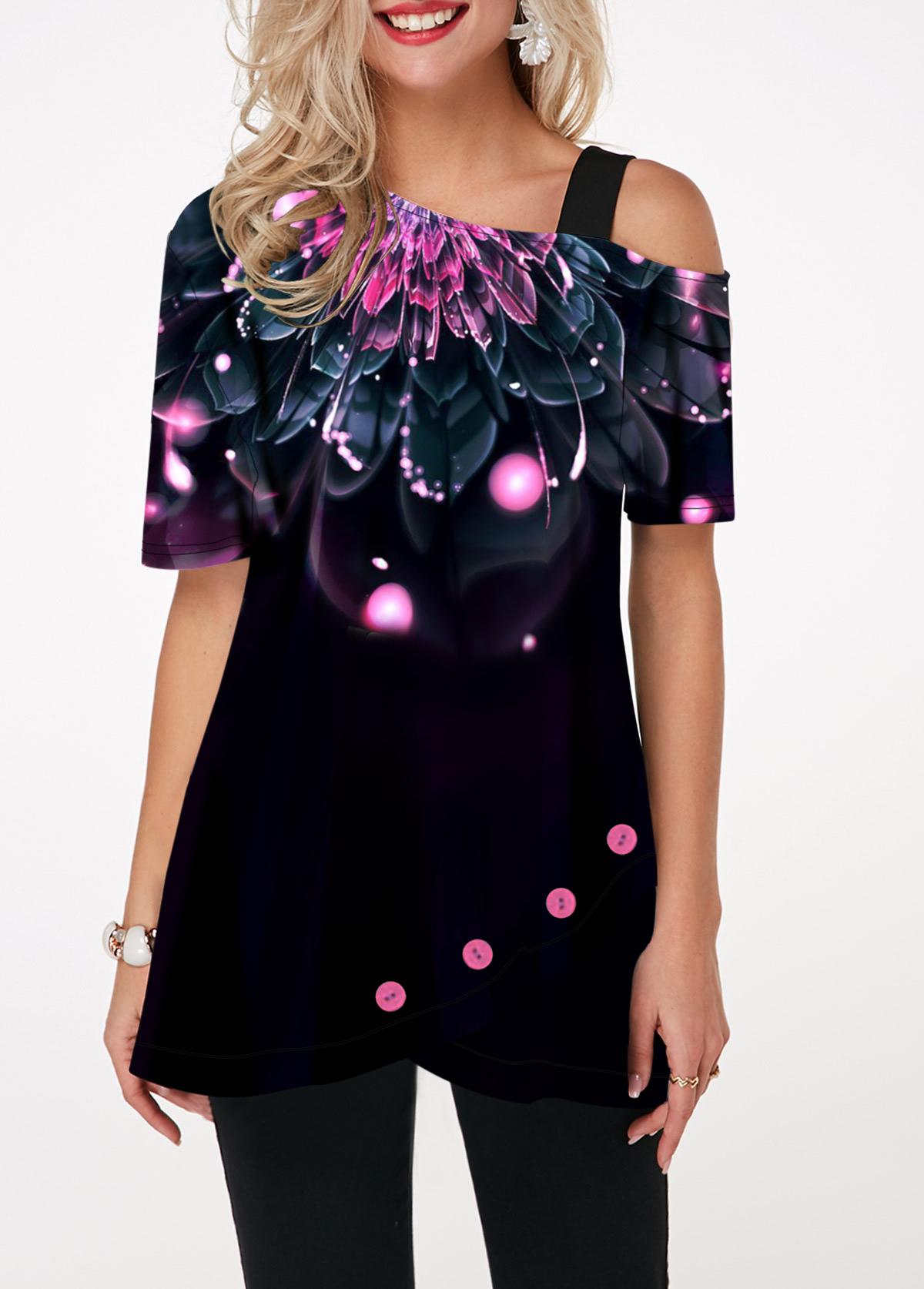 Short Sleeve Floral Print Dazzle Color T Shirt