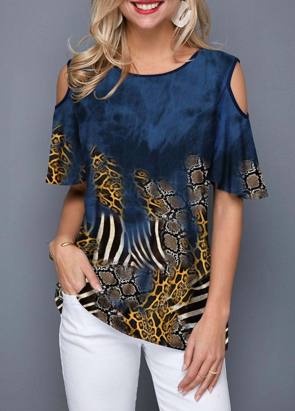 Printed Cold Shoulder Round Neck T Shirt