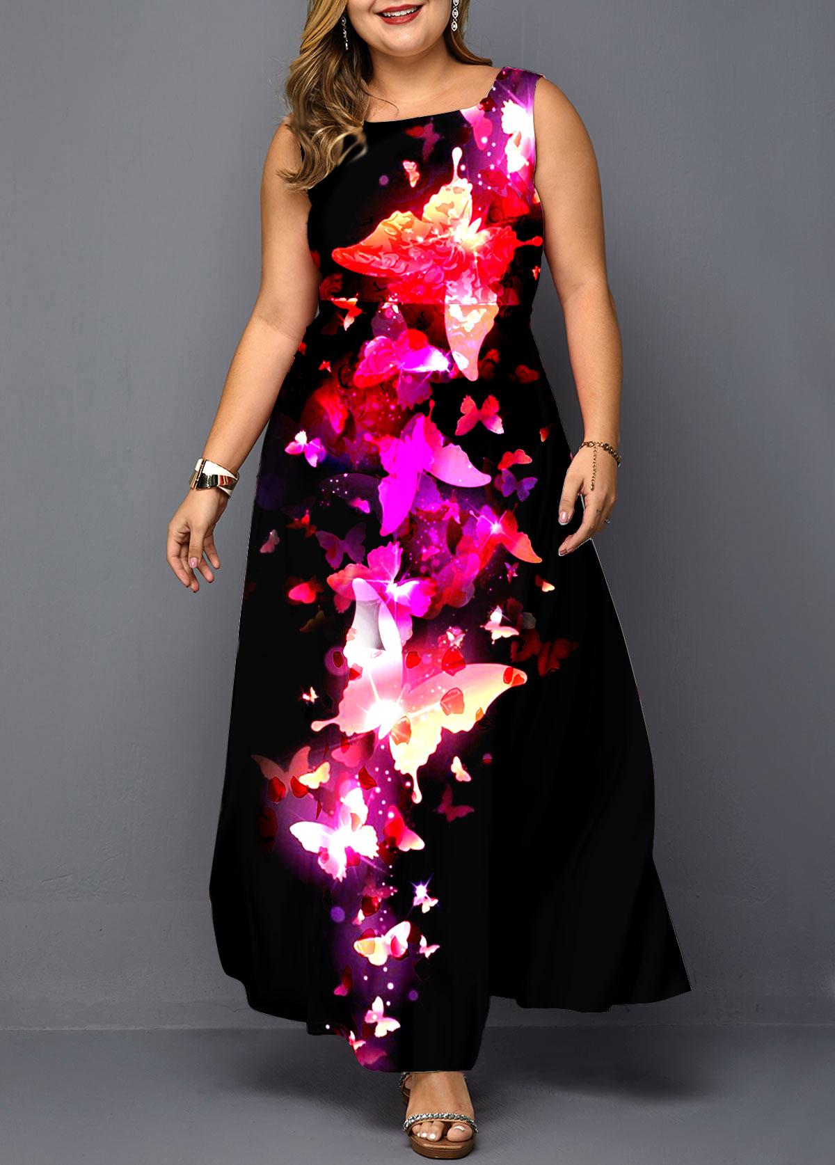 Butterfly Print Sleeveless Plus Size Dress